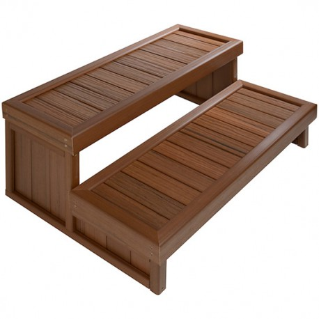 Marchepied / Escalier 2 marches pour spa à poser Brazilian Teak Jacuzzi®
